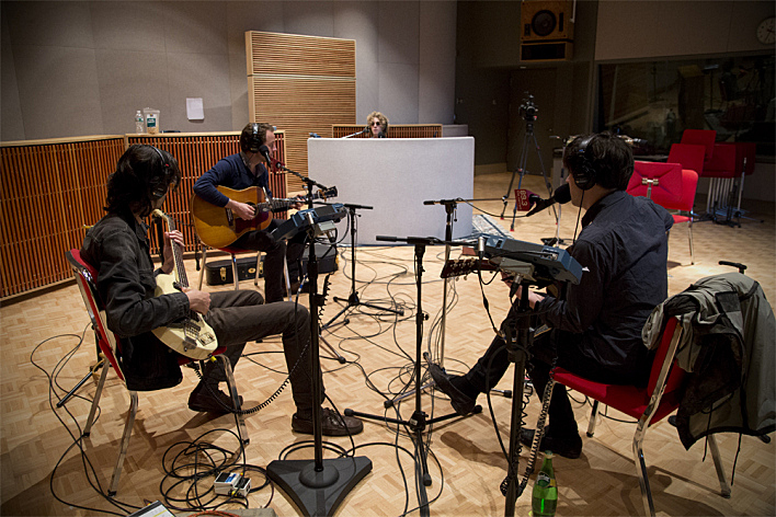Conor Oberst and Dawes perform in The Current studio (MPR photo/Leah Garaas)